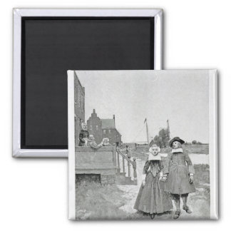 Along the Canal in Old Manhattan 2 Inch Square Magnet