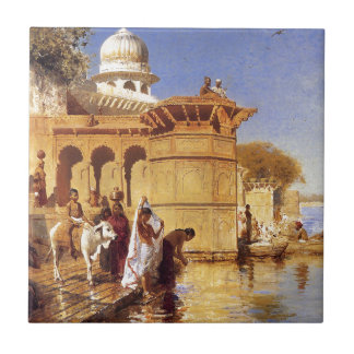 Along the Ghats, Mathura by Edwin Lord Weeks Tile