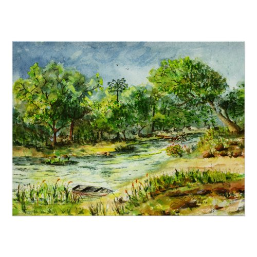 Along the Ocklawaha River Old Florida Watercolor Poster