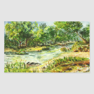 Along the Ocklawaha River Old Florida Watercolor Rectangular Sticker