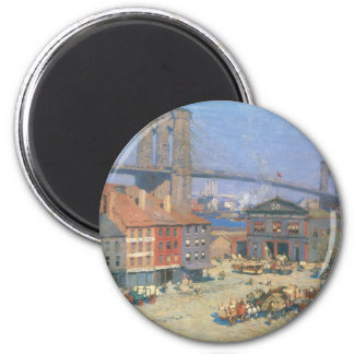 Along the River Front, New York circa 1912 2 Inch Round Magnet
