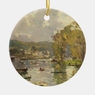 Along the Seine at Meudon, c.1893 (oil on canvas) Ceramic Ornament