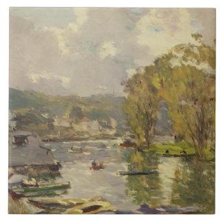 Along the Seine at Meudon, c.1893 (oil on canvas) Ceramic Tile