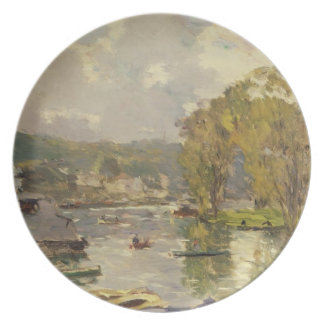 Along the Seine at Meudon, c.1893 (oil on canvas) Melamine Plate