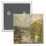 Along the Seine at Meudon, c.1893 (oil on canvas) Pinback Button