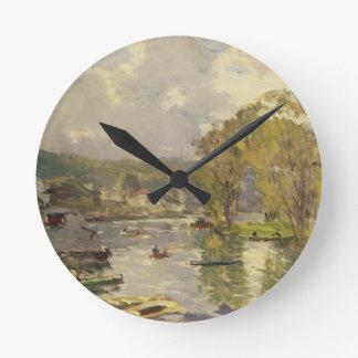 Along the Seine at Meudon, c.1893 (oil on canvas) Round Clock