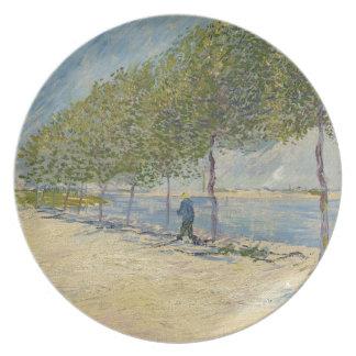 Along the Seine by Vincent Van Gogh Melamine Plate