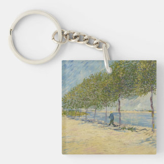 Along the Seine Double-Sided Square Acrylic Keychain