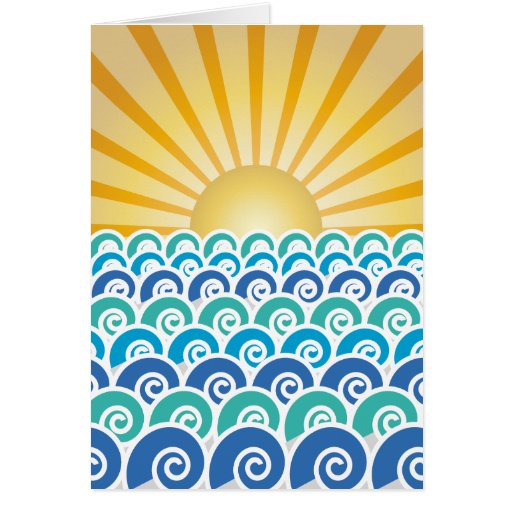 Along the Waves Blue Greeting Card