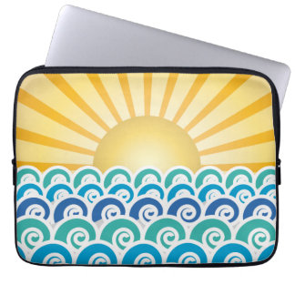 Along the Waves Blue Laptop Sleeve