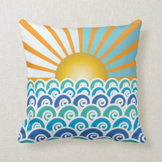 Along the Waves Blue Pillow