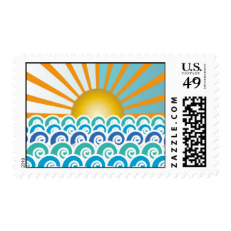 Along the Waves Blue Postage Stamp