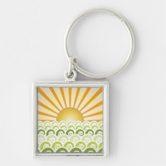 Along the Waves Green Keychain