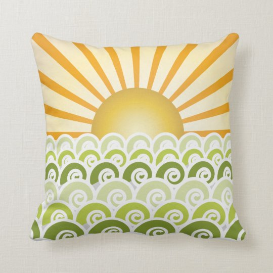 Along the Waves Green Pillow