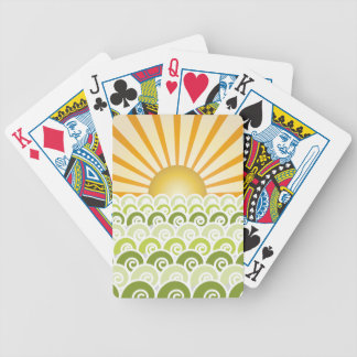 Along the Waves Green Playing Cards