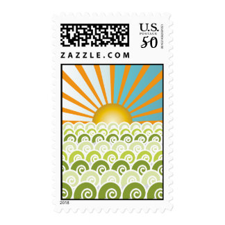 Along the Waves Green Postage Stamp
