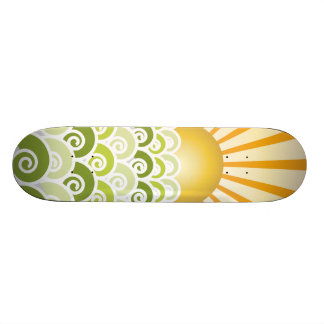 Along the Waves Green Skateboard