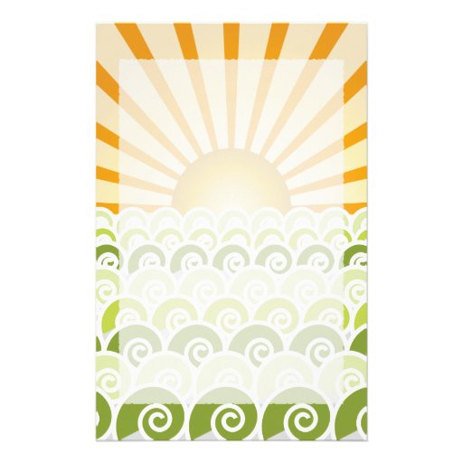 Along the Waves Green Stationery