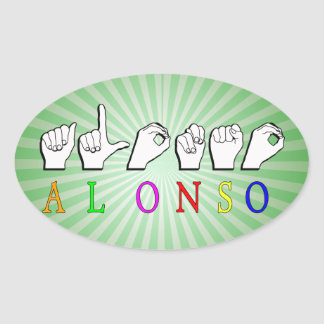 ALONSO FINGERSPELLED NAME SIGN OVAL STICKER