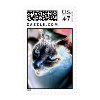 Aloof Siamese Cat Altered Postage