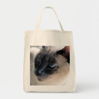 Aloof Siamese Cat Organic Grocery Tote Bag