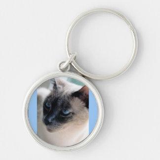 Aloof Siamese Cat Premium Round Keychain