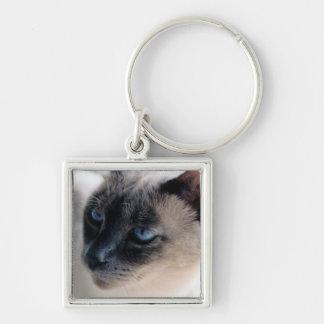 Aloof Siamese Cat Premium Square Keychain