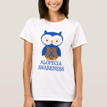 Alopecia Awareness owl Blue Ribbon T-Shirt