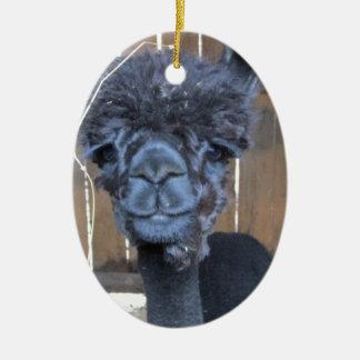 Alpaca afeitada triste adorno navideño ovalado de cerámica