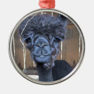 Alpaca afeitada triste adorno navideño redondo de metal