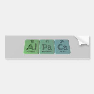 Alpaca-Al-Pa-Ca-Aluminium-Protactinium-Calcium Bumper Sticker