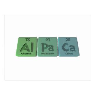 Alpaca-Al-Pa-Ca-Aluminium-Protactinium-Calcium Postcard