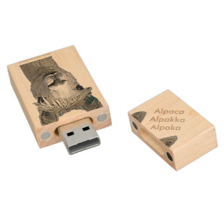 Alpaca Alpakka Alpaka Alpaga Wood USB Flash Drive