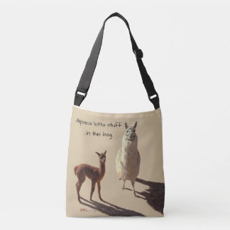 Alpaca baby and mother photograph.tan.text. crossbody bag