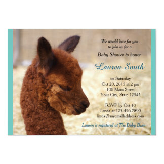 Alpaca Baby Shower Invitations Boy