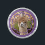 """Alpaca Belle Bumpster Speaker<br><div class=""""desc"""">Our Alpaca Bumpster Speaker has a photo of a cute alpaca smiling and cut out as a flower on the front. Alpacas are different than most farm animals because they are always smiling. This animal photo speaker is fully customizable so you can resize the photo, change the background color, or...</div>"""