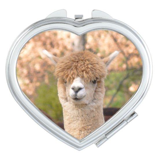Alpaca Belle Heart Compact Mirror