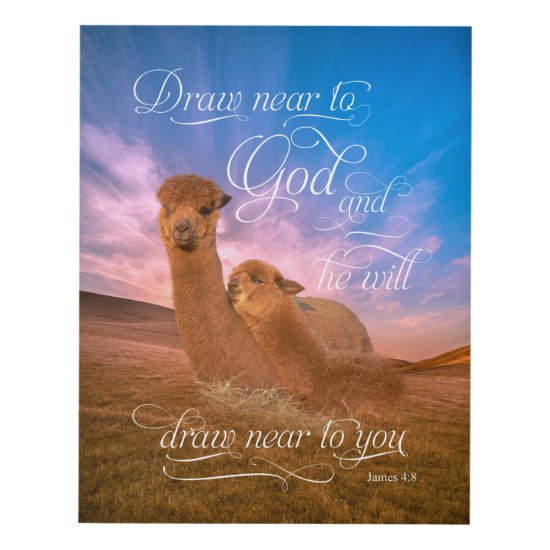 Alpaca Bible Verse Draw Near to God Panel Wall Art