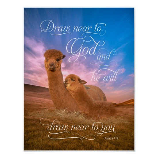 Alpaca Bible Verse Draw Near to God Poster