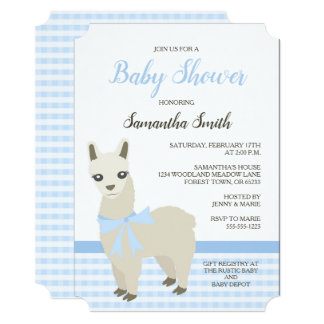 Alpaca Blue Baby Shower Invitation
