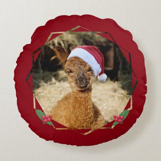 Alpaca Christmas Cute Round Pillow