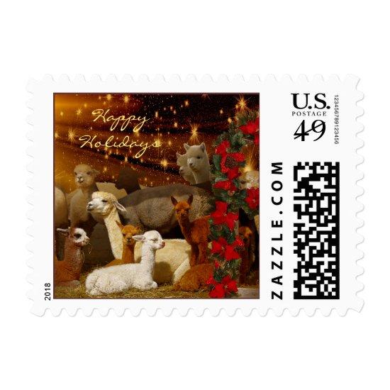 Alpaca Christmas Holiday Postage Stamps