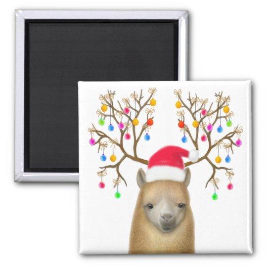 Alpaca Christmas Magnet