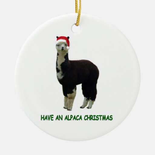 Alpaca Christmas Double-Sided Ceramic Round Christmas Ornament