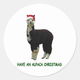Alpaca Christmas Round Sticker