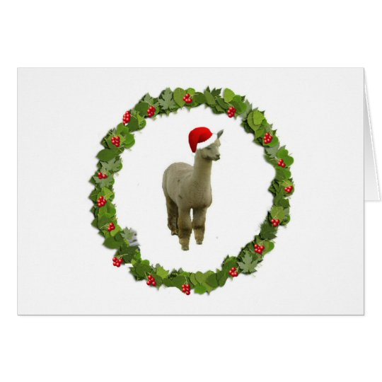 Alpaca Christmas Wreath Card