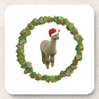 Alpaca Christmas Wreath Drink Coasters