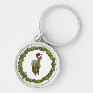 Alpaca Christmas Wreath Silver-Colored Round Keychain