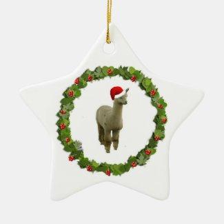 Alpaca Christmas Wreath Double-Sided Star Ceramic Christmas Ornament
