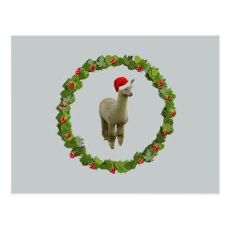 Alpaca Christmas Wreath Postcard
